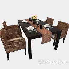 藤椅四人餐桌3d模型下载