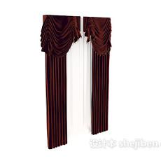 酒红色窗帘max窗帘3d模型下载