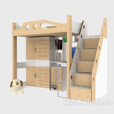 带柜子的床3d模型下载