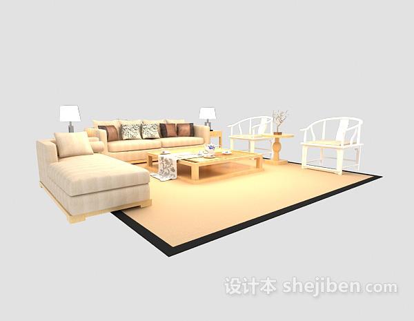 优雅舒适现代中式沙发茶几组合3dmax模型下载