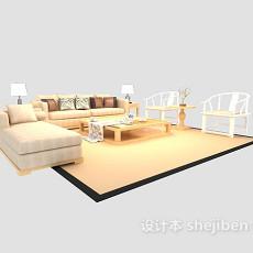 优雅舒适现代中式沙发茶几组合max3d模型下载