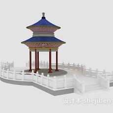 四角亭子3d模型下载