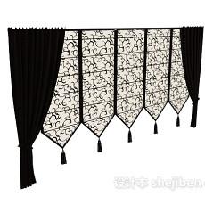 中式窗帘max窗帘3d模型下载