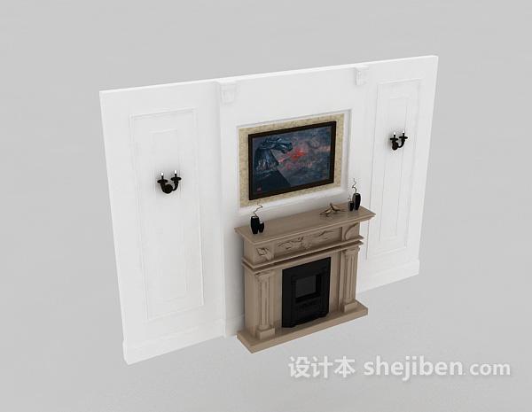 壁炉组合3d模型下载