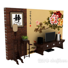 中式电视背景墙3d模型下载