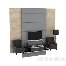 简约电视背景墙3d模型下载
