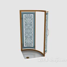 玻璃双开门3d模型下载