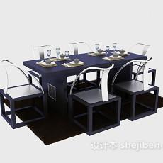 新中式餐桌餐椅家具3d模型下载