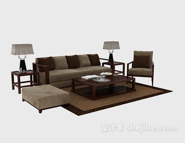 简洁清爽中式组合沙发茶几