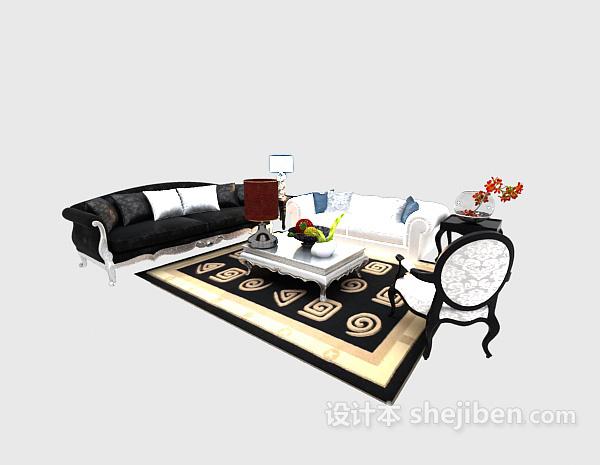奢华大气中式茶几沙发组合3d模型