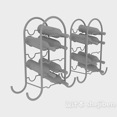 红酒铁艺酒架3d模型下载