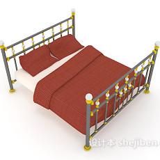铁艺双人床max床3d模型下载