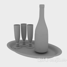 红酒酒杯3d模型下载