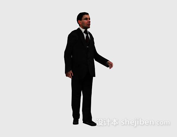 西装男人走姿3dmax人物模型下载