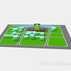 市政广场带水景喷泉3d模型下载