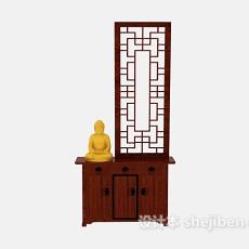 中式屏风鞋柜3d模型下载