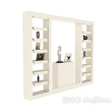 纯白欧式博古架展示装饰柜3d模型下载