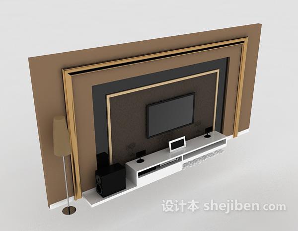 简约欧式电视墙 3d模型下载