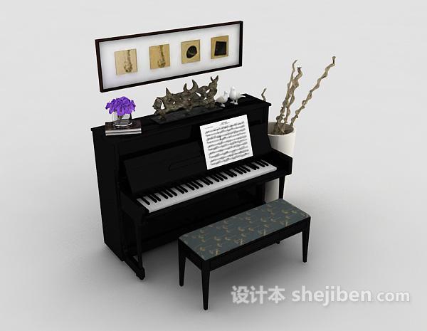 钢琴场景组合模型3d下载