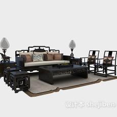 奢华中式沙发组合3d模型下载