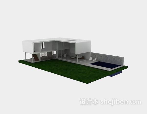 现代白色别墅模型3d下载
