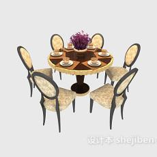 时尚温馨5人小圆形餐桌3d模型下载
