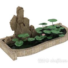 水池假山3d模型下载