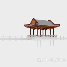 中式亭子3d模型下载