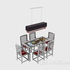 中式餐桌餐椅家具3d模型下载