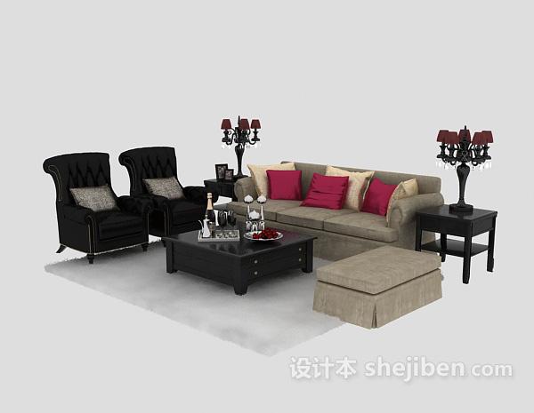 绝美欧式多人沙发3D模型免费下载
