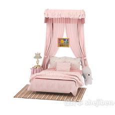 纱幔儿童床3d模型下载