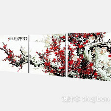 中式墙饰3d模型下载