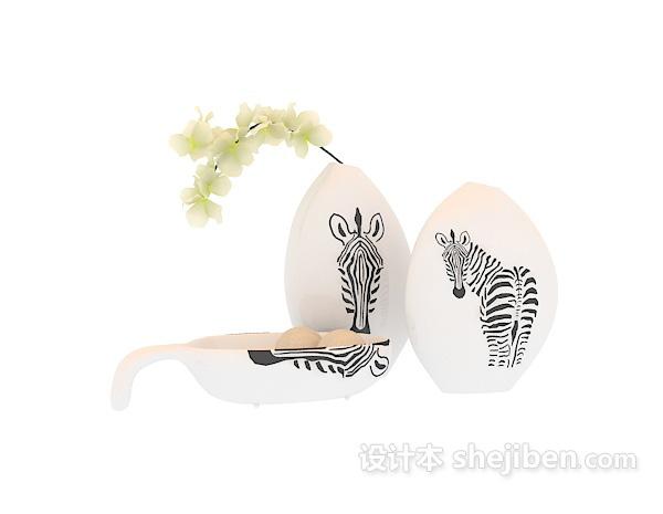 白色陶瓷花瓶3d模型下载