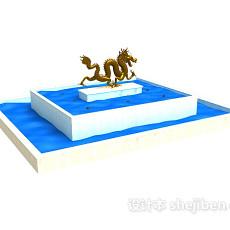 中国龙雕塑广场喷泉水池3d模型下载