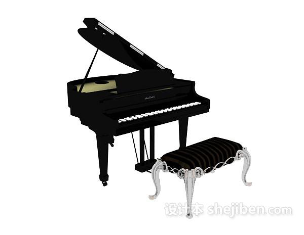 古典钢琴椅子钢琴3d模型下载