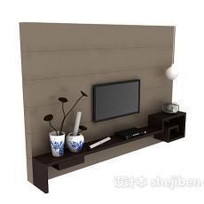新中式电视背景墙3d模型下载