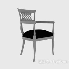 实木刻画美式休闲座椅3d模型下载