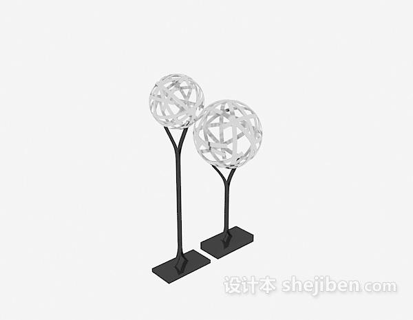 球形雕塑摆件3d模型下载