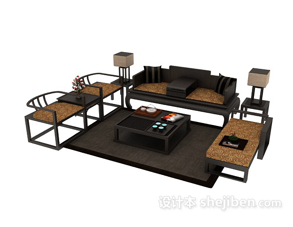 中式组合沙发茶几