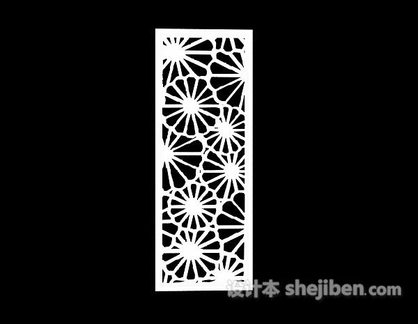 3d模型中式圆形雕花板隔断