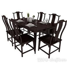 中式餐桌餐椅装饰3d模型下载