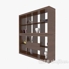 深色现代博古架展示柜3d模型下载
