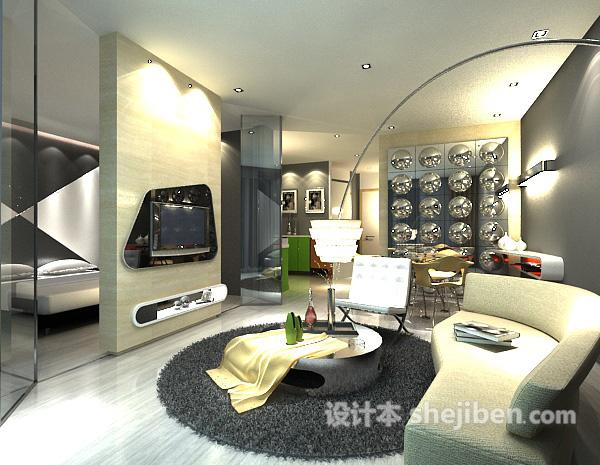 客厅卧室隔断模型
