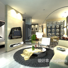 客厅卧室隔断3d模型下载