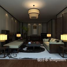 中式客厅屏风3d模型下载