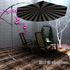 阳台花园遮阳伞3d模型下载