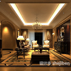 欧式客厅玄关柜3d模型下载