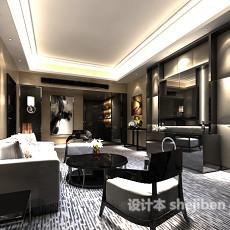 新中式客厅电视墙3d模型下载