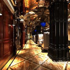 高档欧式豪华餐厅3d模型下载