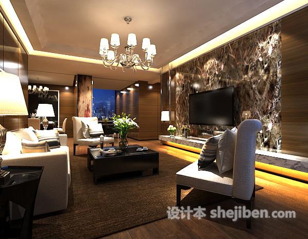 混搭风格客厅电视墙模型